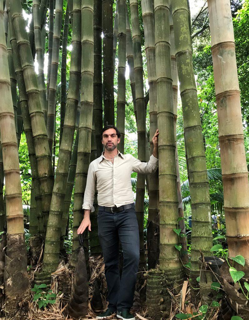 Prof. Omar Pandoli do Departamento de Química entre os bambus da PUC-Rio.